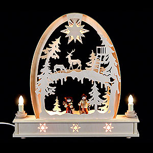 Candle Arches Fret Saw Work Seidel Arch Forest Scene - 36x34 cm / 14x13 inch