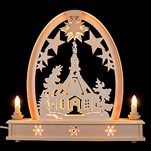 Candle Arches Fret Saw Work Seidel Arch Seiffen Church - 36x37 cm / 14x15 inch