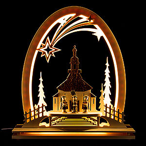 Candle Arches Fret Saw Work Seidel Arch Seiffen Church with Carolers - 31x33 cm / 12.2x13 inch