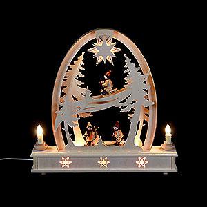 Candle Arches Fret Saw Work Seidel Arch Wintersport - 36x37 cm / 14x15 inch