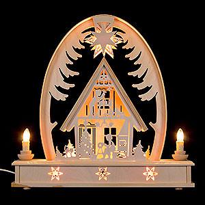 Schwibbögen Laubsägearbeiten Seidelbogen Weihnachtshaus - 36 cmx37 cm