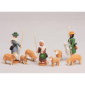 Small Figures & Ornaments All Nativity Figurines Seiffen Nativity - Shepherds and Sheeps - 9 pieces - 8 cm / 3.1 inch