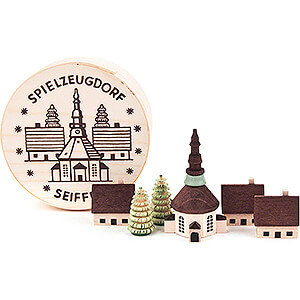 Small Figures & Ornaments Wood Chip Boxes Seiffen Village in Wood Chip Box - 4 cm / 1.6 inch