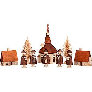 Kleine Figuren & Miniaturen Kurrende Seiffener Dorf mit Kurrende - 12 cm
