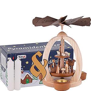 Weihnachtspyramiden 2-stöckige Pyramiden Set 2-stöckige Pyramide Christi Geburt und eine Packung weiße Kerzen