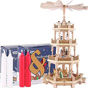 Weihnachtspyramiden 4-stöckige Pyramiden Set 4-stöckige Pyramide Christi Geburt bunt und zwei Packungen Kerzen rot/weiß