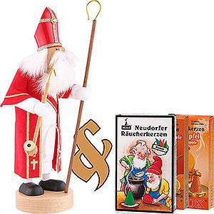 Räuchermänner Weihnachtsmänner Set Räuchermännchen Heiliger St. Nikolaus und drei Packungen Räucherkerzen