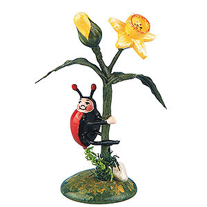 Small Figures & Ornaments Hubrig Flower Kids Set of Two- Ladybug Narcissus - 5,5 cm / 2 inch