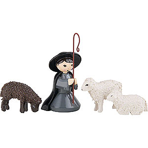Small Figures & Ornaments ULMIK Nativity colored Shepherd kneeling with 3 Sheep, Colored - 7 cm / 2.8 inch