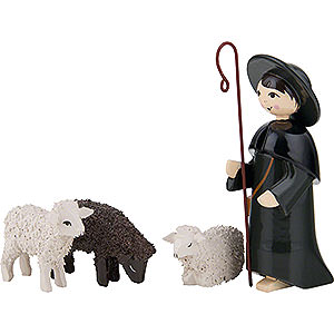 Small Figures & Ornaments ULMIK Nativity colored Shepherd with 3 Sheep, Colored - 7 cm / 2.8 inch