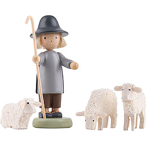 Shepherd with Three Sheep- 5 cm / 2 inch