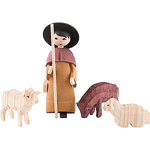 Small Figures & Ornaments ULMIK Nativity stained Shepherd with Three Sheep, Stained - 7 cm / 2.8 inch