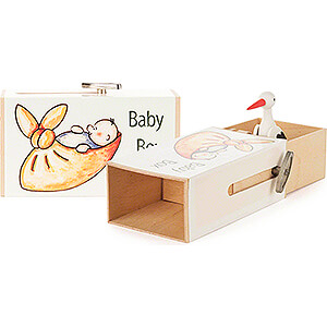 Music Boxes Misc. Motifs Slide Box - »Baby Box« with Stork - 3,5 cm / 1.4 inch