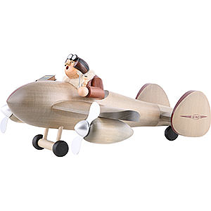 Smokers Professions Smoker - Airplane with Pilot - Shelf Sitter - 20x40 cm / 8x16 inch