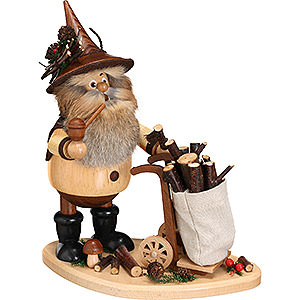 Smokers Professions Smoker - Gnome with Hand Cart - 25 cm / 9.8 inch