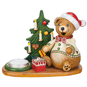 Smokers Animals Smoker - Hubiduu - Teddy's Christmas Presents with Tea Candle - 14 cm / 5,5 inch