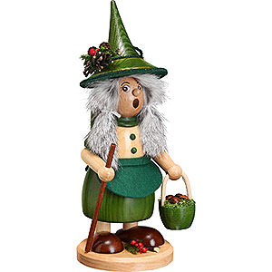 Smokers Misc. Smokers Smoker - Lady Gnome with Mushroom Bucket, Green - 25 cm / 10 inch