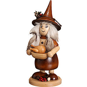 Smokers Misc. Smokers Smoker - Lady Gnome with Pan, Natural - 25 cm / 10 inch