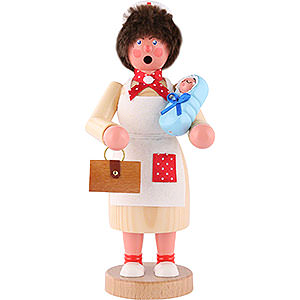 Smokers Professions Smoker - Midwife with Baby Blue - 18 cm / 7 inch
