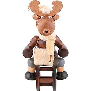 Smokers Animals Smoker - Moose with Sleigh - 29 cm / 11 inch