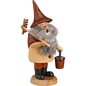 Smokers Professions Smoker - Mountain Gnome with Rake - 18 cm / 7 inch