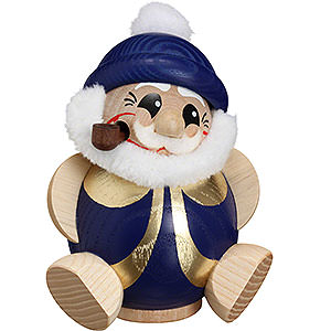 Smokers Santa Claus Smoker - Santa Claus Blue-Gold - Ball Figure - 11 cm / 4.3 inch