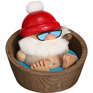 Smokers Santa Claus Smoker - Santa Claus Karl in the Pool - Ball Figure - 10 cm / 3.9 inch