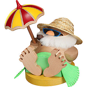 Smokers Santa Claus Smoker - Santa Incognito under Parasol - Ball Figure - 12 cm / 4.7 inch