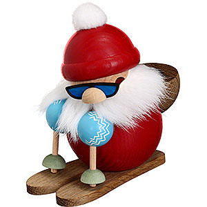 Smokers Santa Claus Smoker - Santa on Ski - Ball Figure - 10 cm / 4 inch