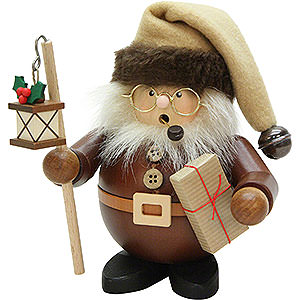 Smokers Santa Claus Smoker - Santa with Lantern Natural Wood - 15,5 cm / 6 inch