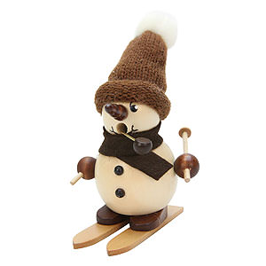 Smokers Snowmen Smoker - Snowboy on Ski Natural - 12 cm / 5 inch