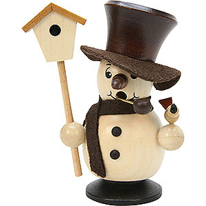 Smokers Snowmen Smoker - Snowboy with Birdhouse Natural Colors - 10,5 cm / 4 inch