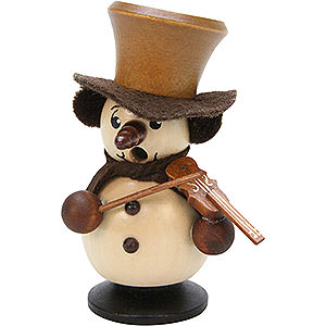 Smokers Snowmen Smoker - Snowboy with Violin Natural - 10,5 cm / 4 inch