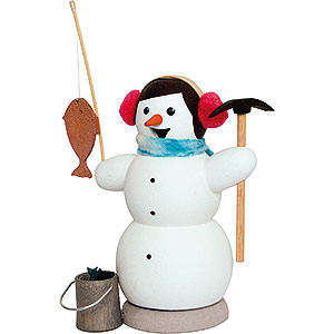 Smokers Snowmen Smoker - Snowman as Ice Fisher - 13 cm / 5.1 inch