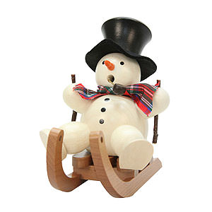 Smokers Snowmen Smoker - Snowman on Sleigh - 10,5 cm / 4 inch