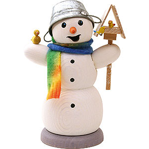 Smokers Snowmen Smoker - Snowman with Bird House and Bird - 13 cm / 5.1 inch