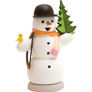 Smokers Snowmen Smoker - Snowman with Fir Tree and Saw - 13 cm / 5.1 inch