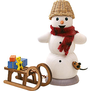 Smokers Snowmen Smoker - Snowman with Sleigh and Mouse - 13 cm / 5.1 inch