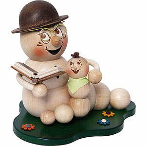 Smokers Animals Smoker - Worm Grandad-Worm Rudi with Grandchild - 14 cm / 5.5 inch