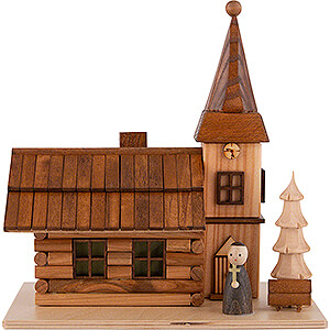 Smokers Professions Smoking House - Rural Church with Pastor and LED - 19 cm / 7.5 inch
