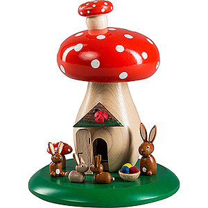 Smokers All Smokers Smoking Hut - Toadstool with Bunnies - 13 cm / 5.1 inch