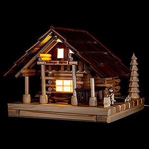 World of Light Lighted Houses Smoking Lighted House - Freiberg Hut with Figurine - 25 cm / 9.8 inch