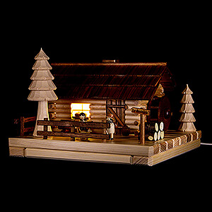 World of Light Lighted Houses Smoking Lighted House - Old Mill with Figurines - 20 cm / 7.9 inch