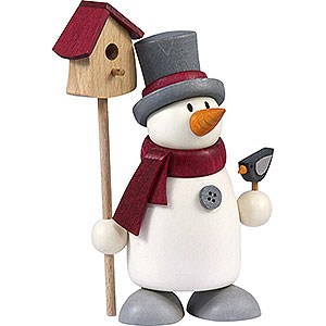 Small Figures & Ornaments Fritz & Otto (Hobler) Snow Man Fritz with Bird House - 9 cm / 3.5 inch