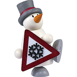 Small Figures & Ornaments Fritz & Otto (Hobler) Snow Man Fritz with Sign - 9 cm / 3.5 inch