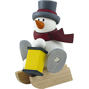 Small Figures & Ornaments Fritz & Otto (Hobler) Snow Man Otto with Lantern with Sleigh - 8 cm / 3.1 inch