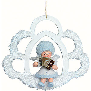 Tree ornaments Kuhnert Snowflakes Snowflake with Accordion - 7x7x4 cm / 2.8x2.8x1.5 inch
