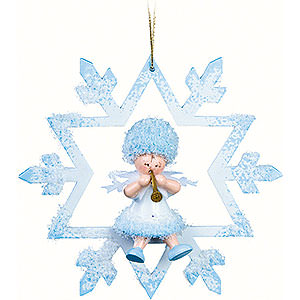Tree ornaments Kuhnert Snowflakes Snowflake with Clarinet in Chrystal - 7x7x4 cm / 2.8x2.8x1.6 inch