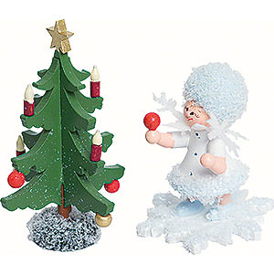 Small Figures & Ornaments Kuhnert Snowflakes Snowflake with Fir Tree - 5 cm / 2 inch