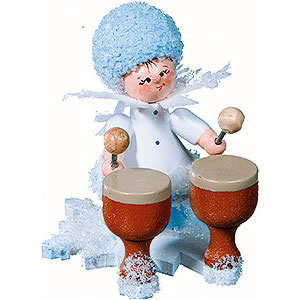 Small Figures & Ornaments Kuhnert Snowflakes Snowflake with Kettledrum - 5 cm / 2 inch